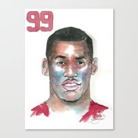 49ers Canvas Prints featuring Aldon Smith-49ers by Anthonylanza