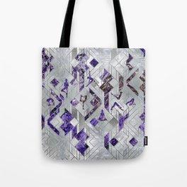 Yoga Asanas in Amethyst on geometric pattern Tote Bag