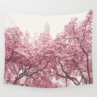 central park Wall Tapestries featuring Central Park - Cherry Blossoms by Vivienne Gucwa