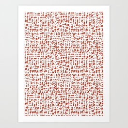 Red and White Abstract Drawn Cryptic Symbols Art Print