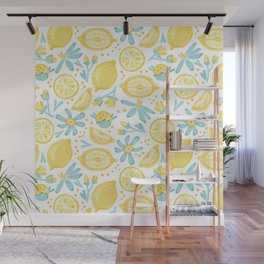 Lemon pattern White Wall Mural