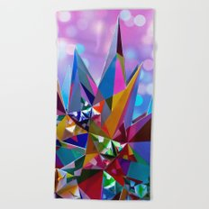 Festive colorful crystals Beach Towel