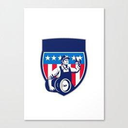 American Construction Worker Beer Keg Crest Retro Canvas Print