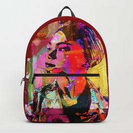 Lady with headscarf in mixed media style Backpack