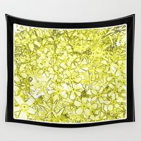 yellow pattern Wall Tapestries featuring Yellow Flox Pattern by Tru Images Photo Art