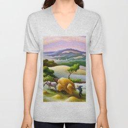 Classical Masterpiece 'Chilmark Hay' by Thomas Hart Benton Unisex V-Neck