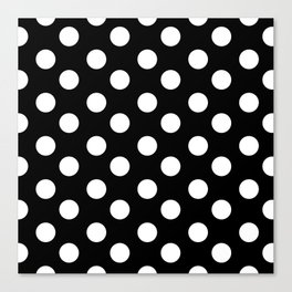 Polka Dot (White & Black Pattern) Canvas Print