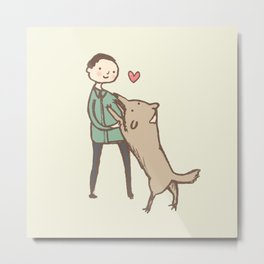 Man & Dog Metal Print