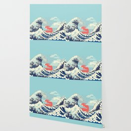 The Great Wave off Kanagawa stormy ocean with big waves Wallpaper