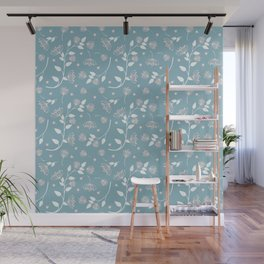 Pink and White Flowers on Blue Background Wall Mural