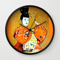 drum Wall Clocks featuring Drum Ceremony by Ron Trickett