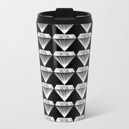 Diamonds Pattern - Black and White and Grey Travel Mug