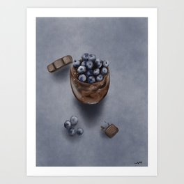 Delicious Blueberry Chocolate Mousse Cake Art Print