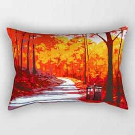 Tardis Art Autumn Tree Painting Rectangular Pillow