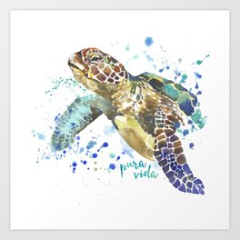 Sea Turtle Pura Vida Watercolor Art Print