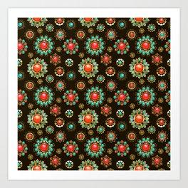Ethnic Brooches Seamless Pattern Art Print