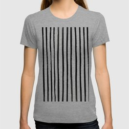 Vertical Black and White Watercolor Stripes T-shirt