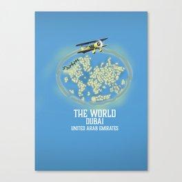 The World, Dubai United Arab Emirates map Canvas Print