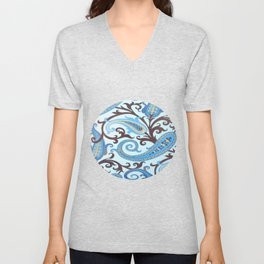 Classic Paisley in Blue Unisex V-Neck