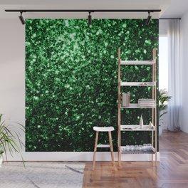 Glamour Dark Green glitter sparkles Wall Mural