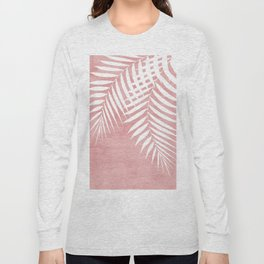Pink Paint Stroke of Palm Leaves Long Sleeve T-shirt