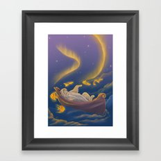 Golden fish and sailing polar bear  Framed Art Print