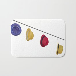 isolated colorful hats hanging at the party Bath Mat
