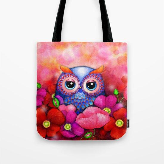 Owl in Poppy Field Tote Bag