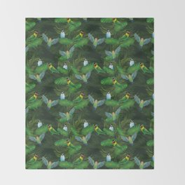 Lovebirds and tropical leafs Throw Blanket
