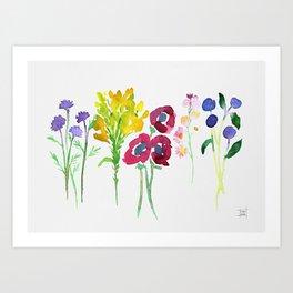 Wildflowers Watercolor Art Print