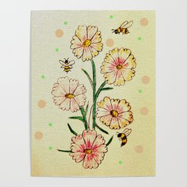 Cosmo Flowers with Bees Poster