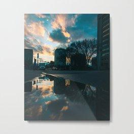 Edmonton–Sunset Reflections Metal Print