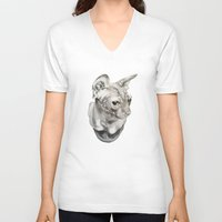sphynx V-neck T-shirts featuring Sphynx  by KittyHatesIt