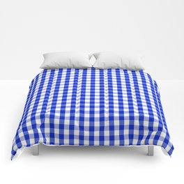 Cobalt Blue and White Gingham Check Plaid Squared Pattern Comforters