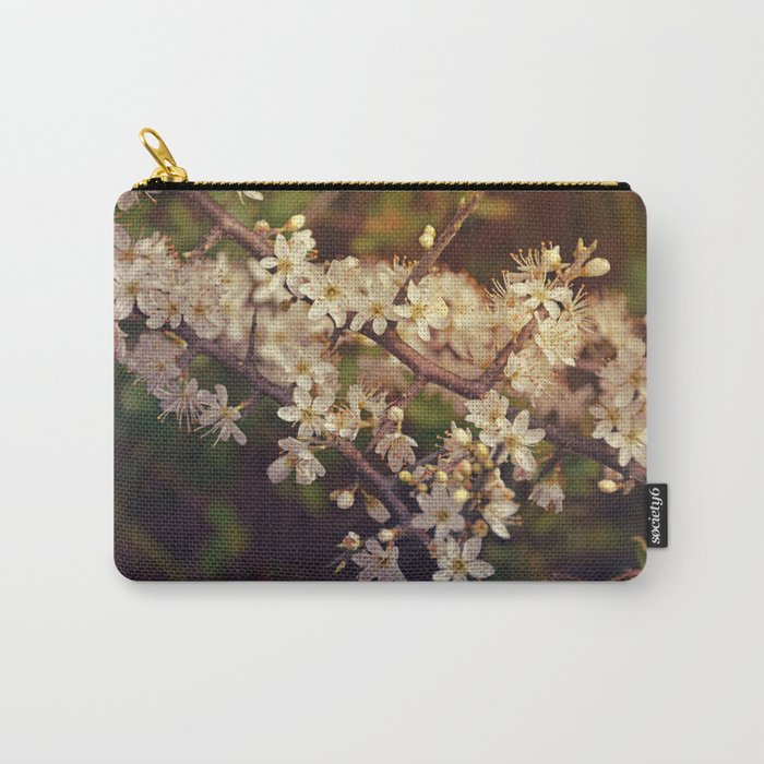 Sunny White Cherry Blossom Carry-All Pouch