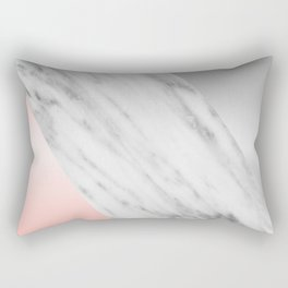 Pink Grey and Marble Collage Rectangular Pillow