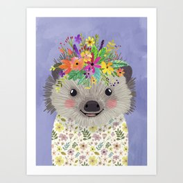 Hedgehog with floral crown Art Print