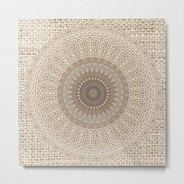 Unique Texture Taupe Burlap Mandala Design Metal Print