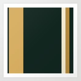 A remarkable impression of Bronze (Metallic), Champagne, Dark Jungle Green and Earth Yellow vertical stripes. Art Print