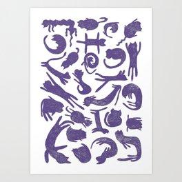 Ultra Violet Cats Art Print