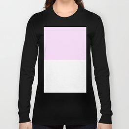 White and Pastel Violet Horizontal Halves Long Sleeve T-shirt