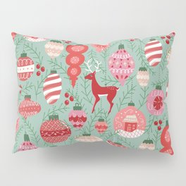 Mid-Century Ornaments in Red and Mint Pillow Sham