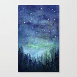 Watercolor Galaxy Nebula Northern Lights Painting Canvas Print