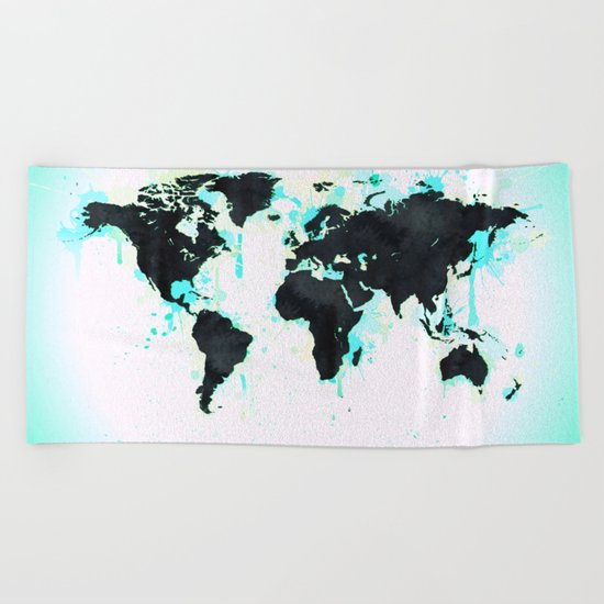 World Map Turquoise Paint and Black Ink Beach Towel