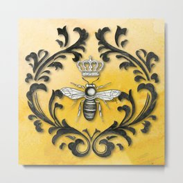 Damask Bee Metal Print