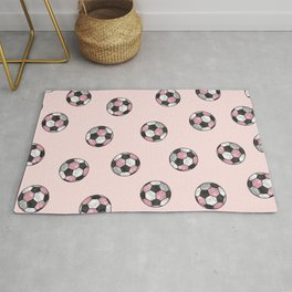 Girly Pink Gray Glitter Foil Soccer Ball  Pattern Rug