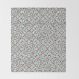 Blue and Gray Geometric - Star Pattern Throw Blanket