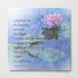 Serenity Prayer Water Lily Wonders Metal Print