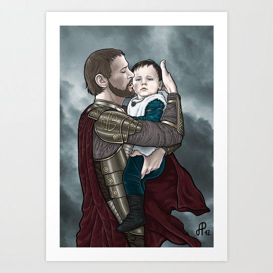 Odin and young Loki Art Print