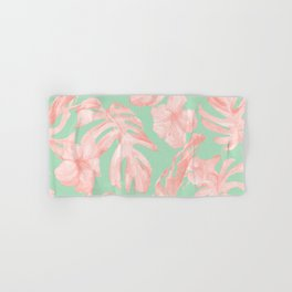 Tropical Palm Leaves Hibiscus Pink Mint Green Hand & Bath Towel